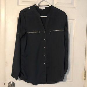 Calvin Klein charcoal grey blouse
